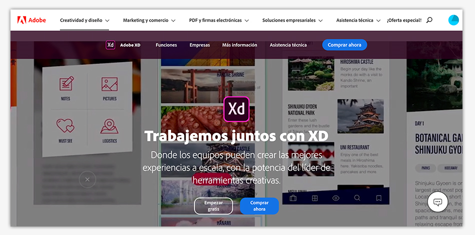 Adobe XD, prototipos, wireframes, ux, ui, diseño de interfaces,