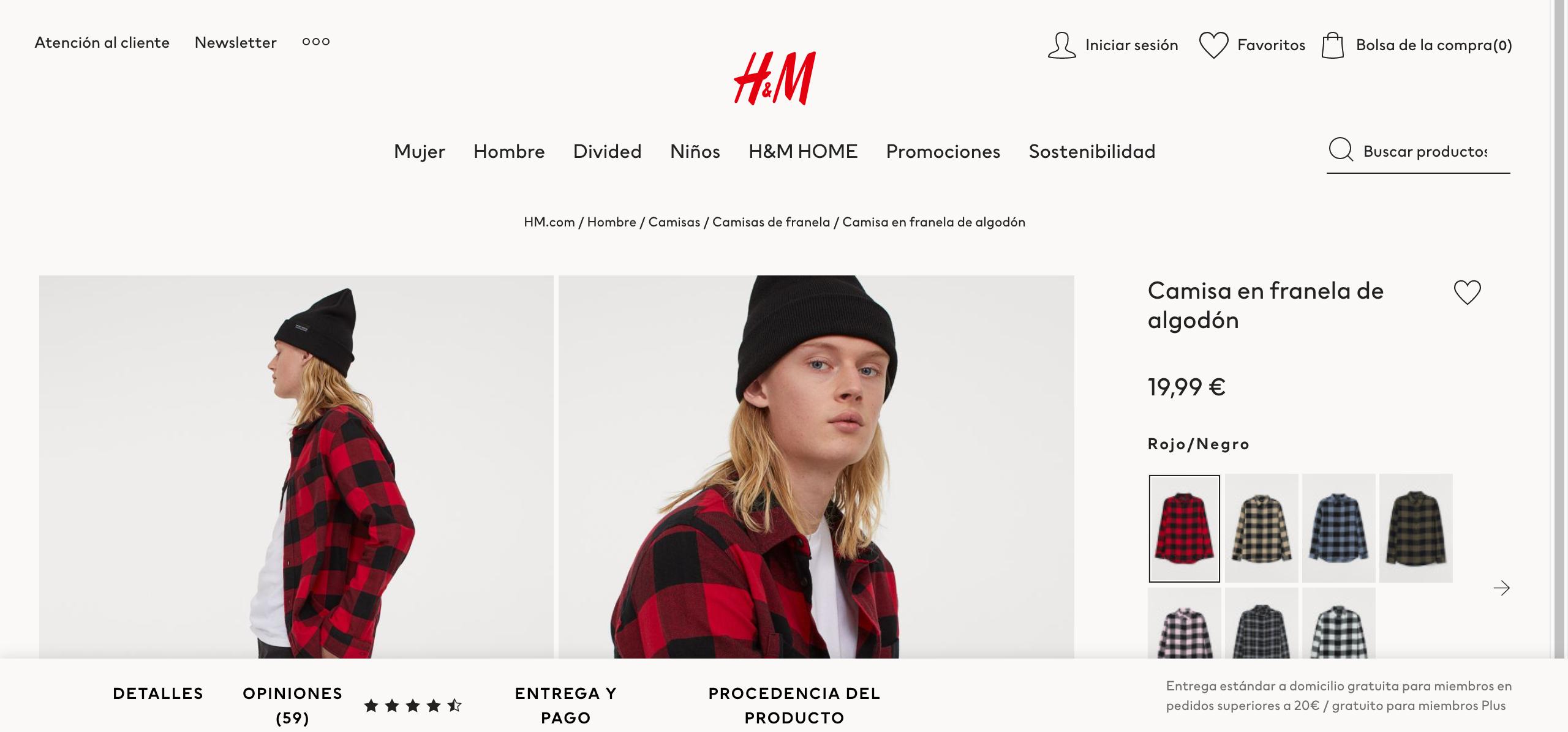 pagina de detalle de producto, hym, ux, usabilidad, ecommerce,